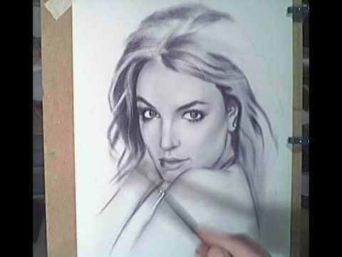Drawn portrait britney spears / drawing / painting painting