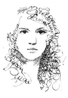 Drawn portrait calligraphy Portraits drawings Pin thread Beautiful