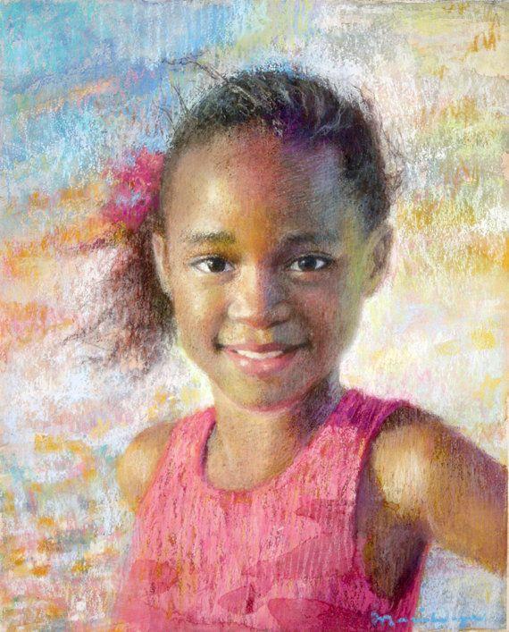 Drawn portrait children's face Pastel Pastel Girls Portrait Room