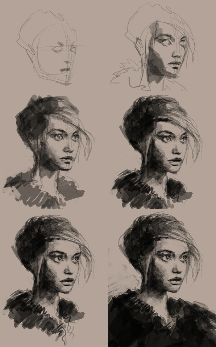 Drawn portrait coal Different phases a the creation