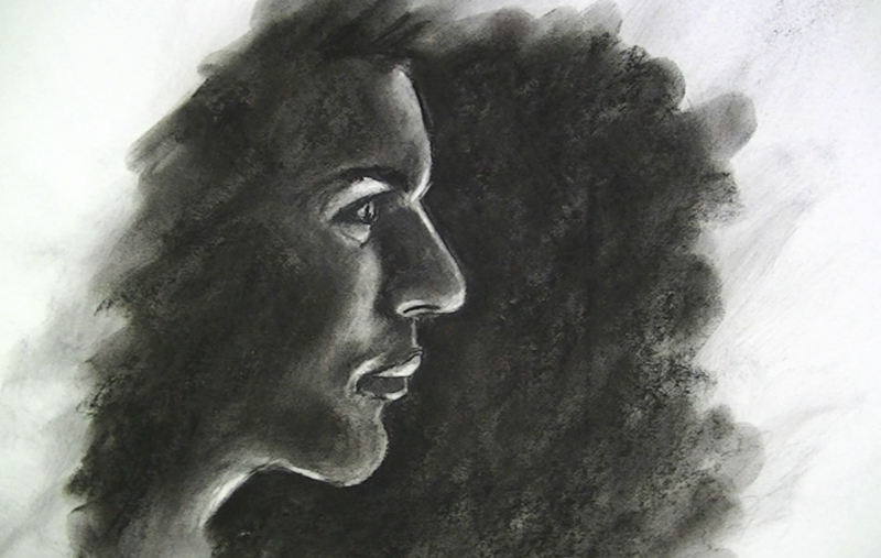 Drawn portrait coal Charcoal with Powdered portrait charcoal