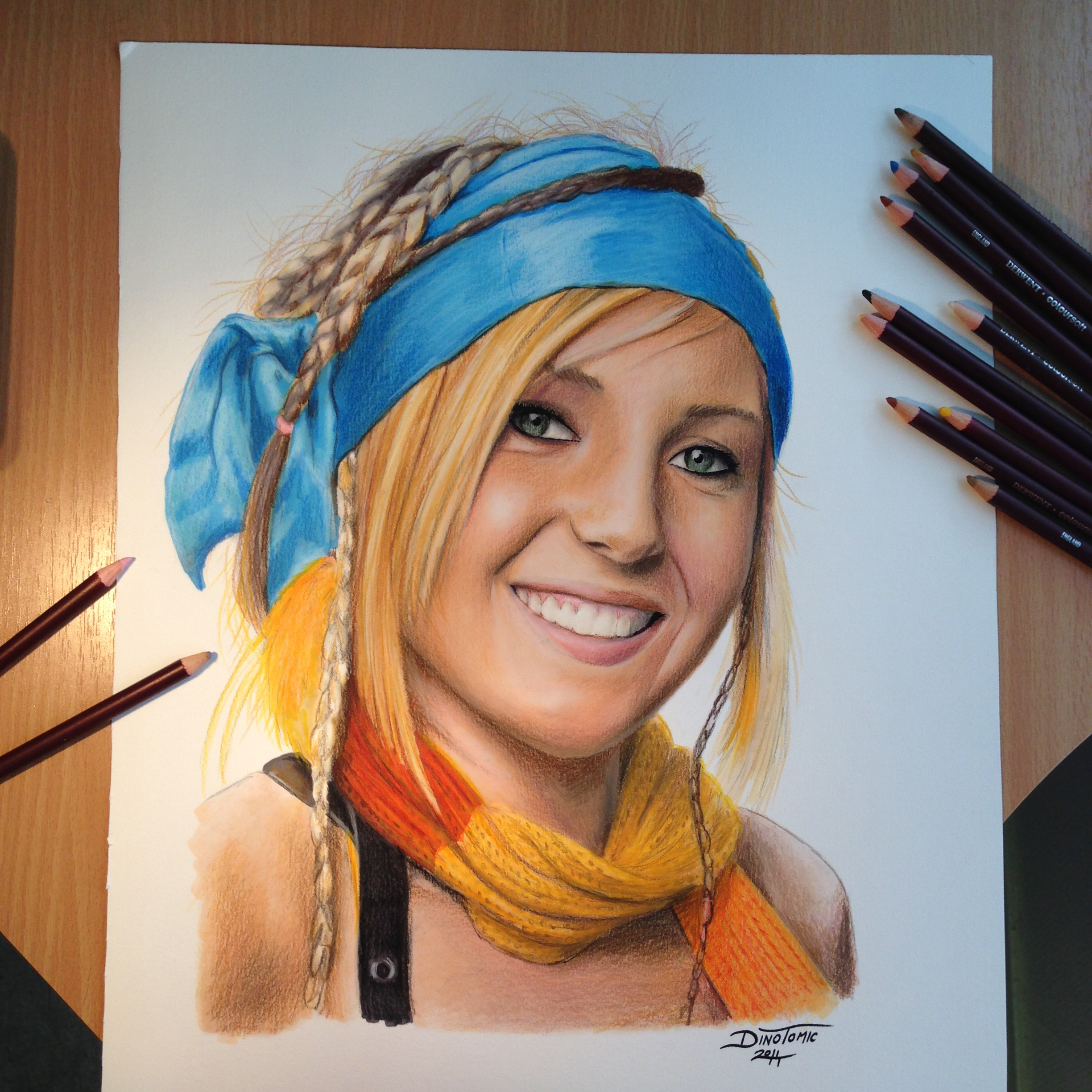 Drawn portrait color And Wax and Pencil Tools