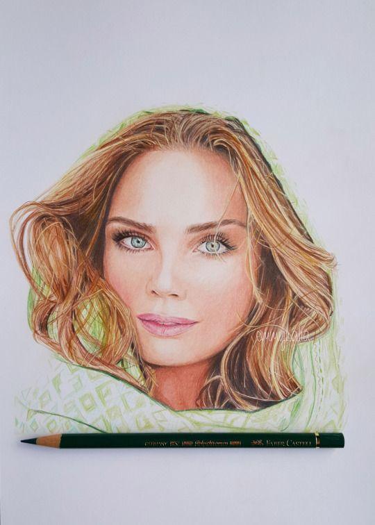 Drawn portrait color Pinterest images on polychromos Kalia