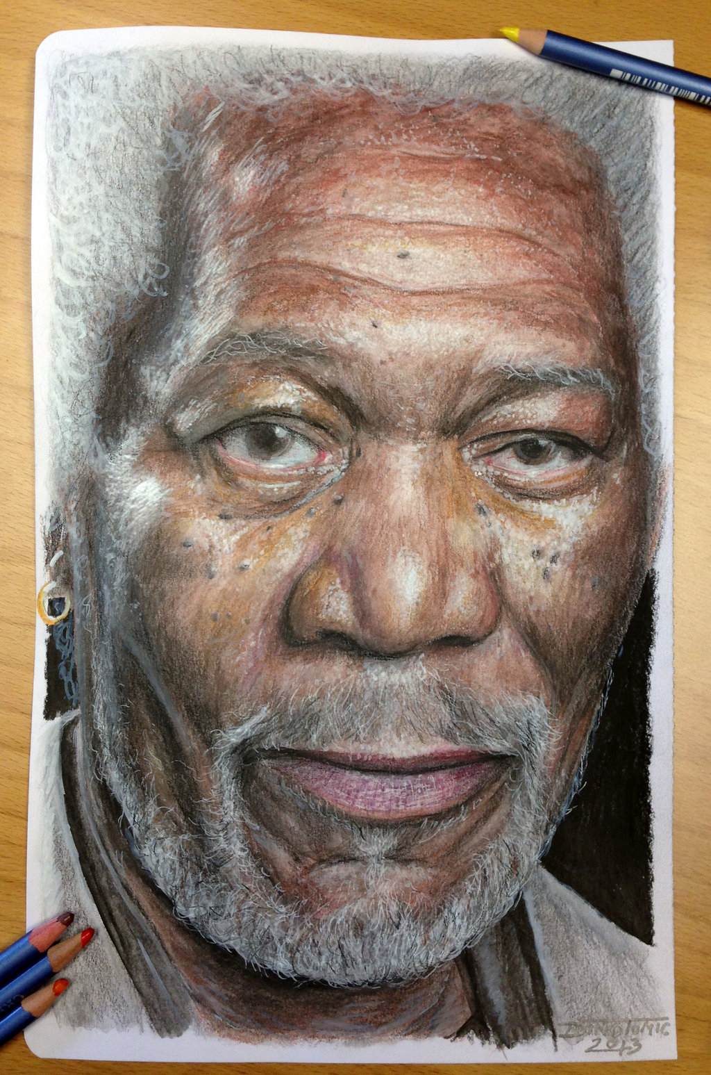 Drawn portrait colored pencil Portraits Pencil color 04 old