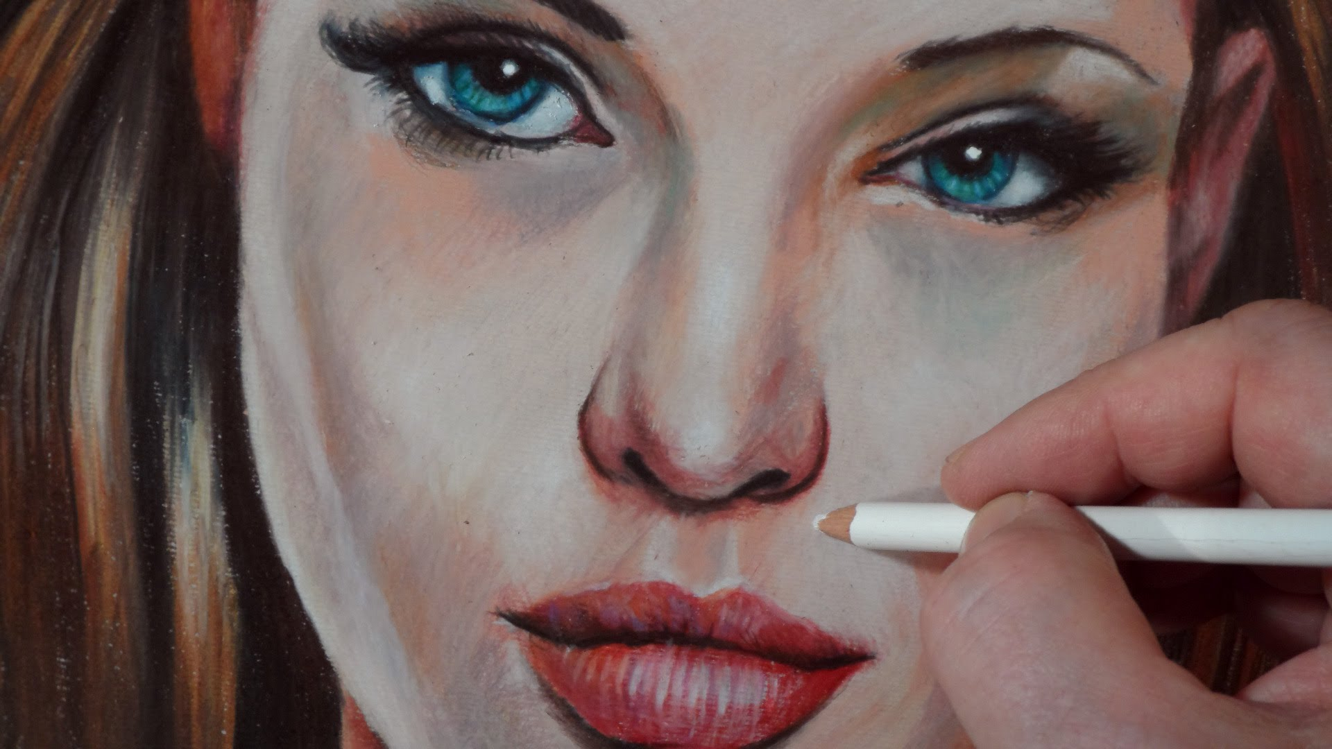 Drawn portrait colored pencil Angelina Drawing Lapse Jolie