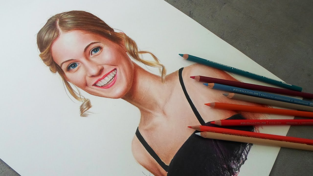 Drawn portrait colored pencil Portrait Realistic Colored Drawing