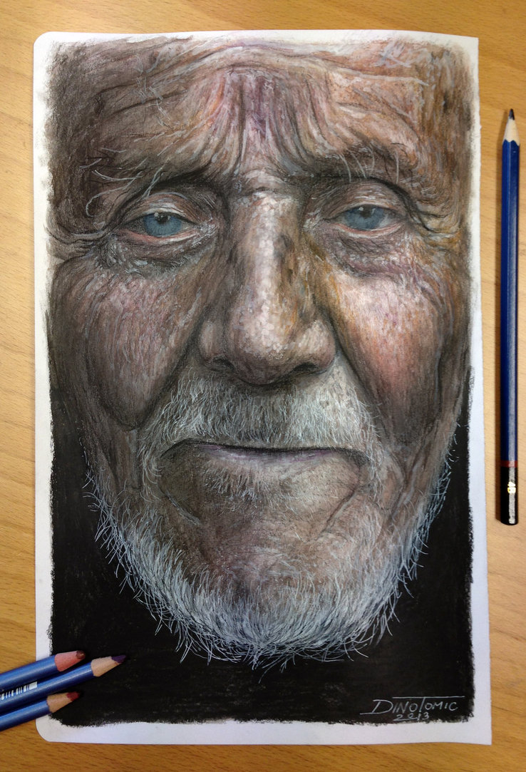 Drawn portrait colored pencil A was drawing a a