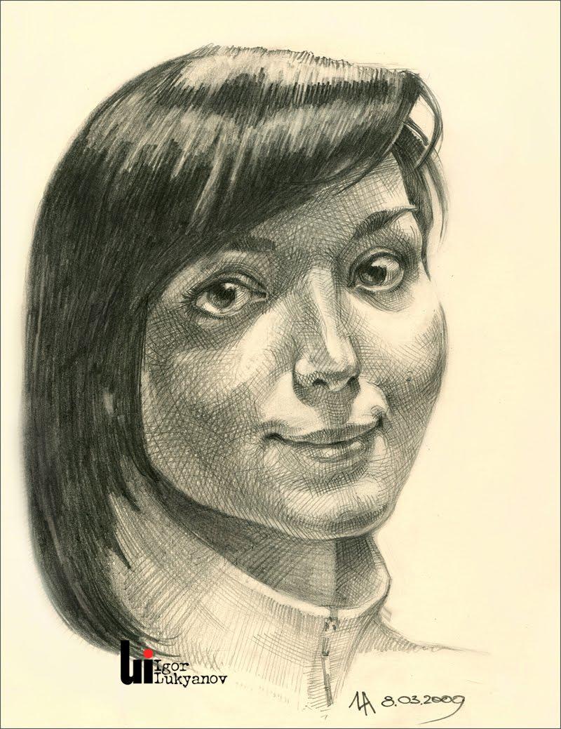 Drawn portrait cross hatching Girl portrait Ukrainian Illustrator Igor