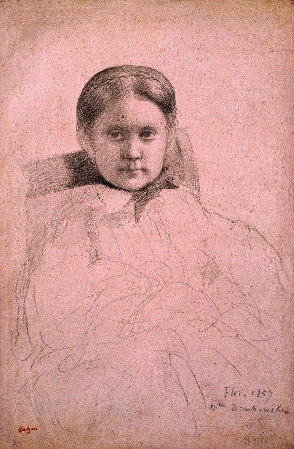 Drawn portrait degas Black crayon on Mlle Degas'