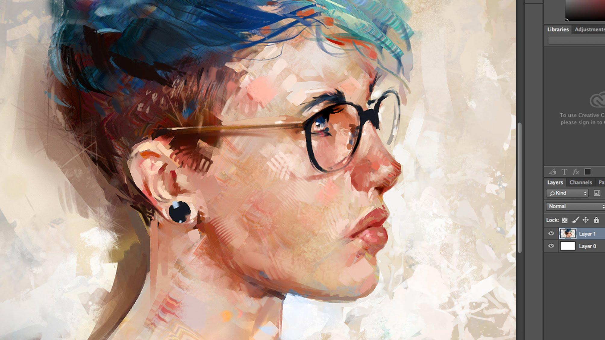 Drawn portrait digital A in  Photoshop Blue