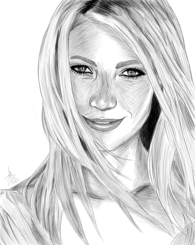 Drawn portrait digital Layer and be Digital brush