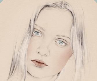 Drawn portrait digital For art beautiful Photoshop Digitally