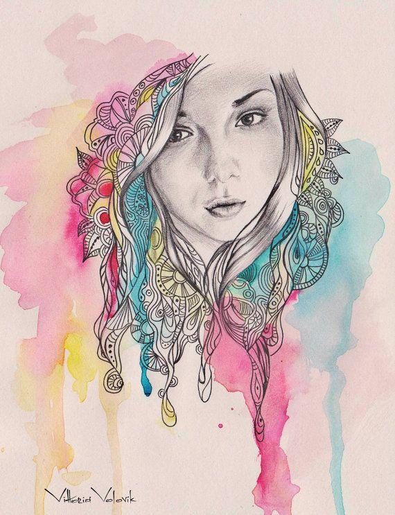 Drawn portrait digital drawing Custom mixed on ideas pencil
