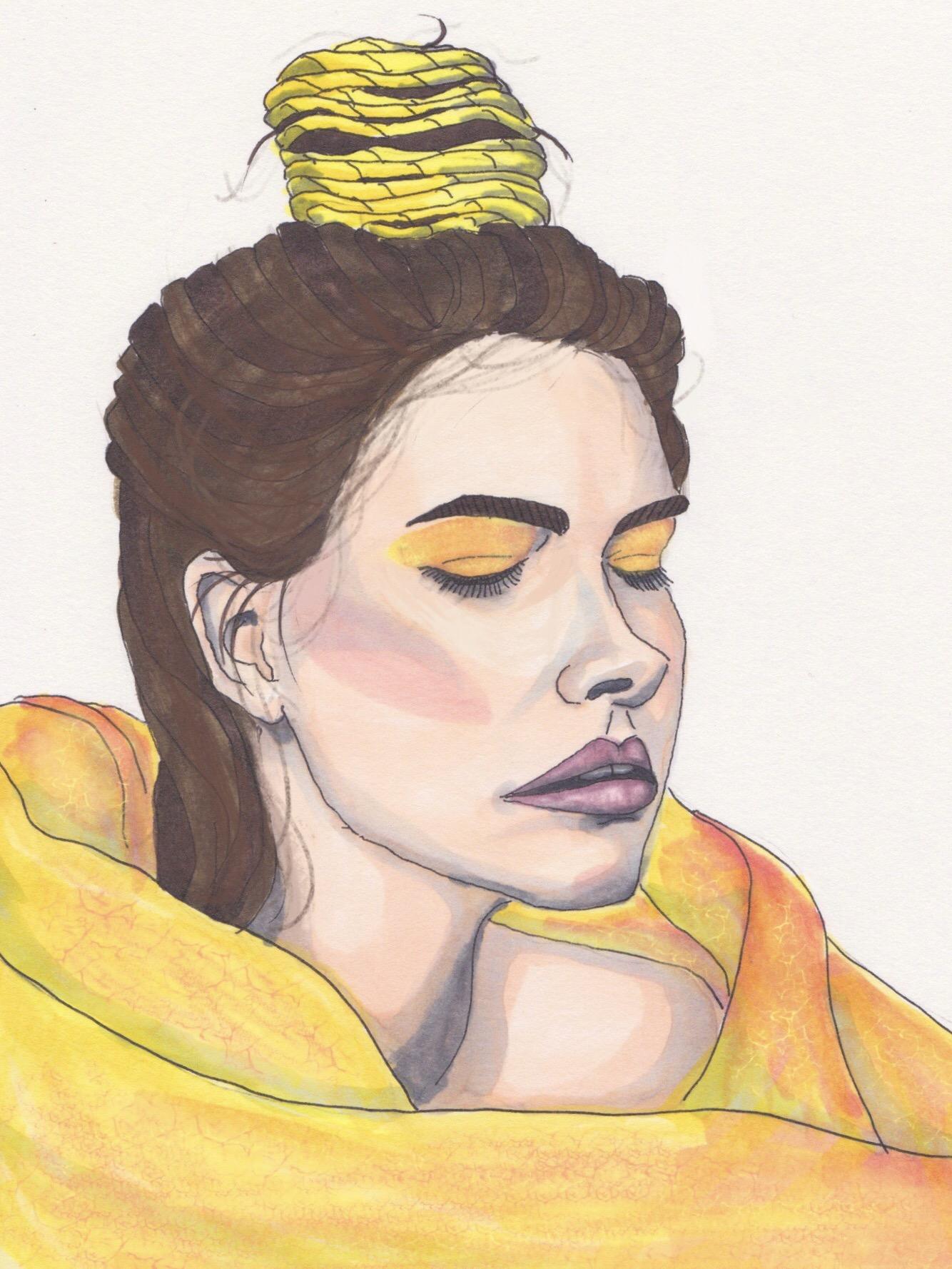 Drawn portrait digital drawing In Daler and Pro digital