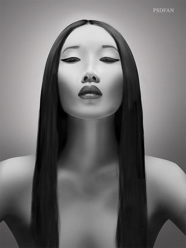 Drawn portrait digital illustration Realistic Portrait Photo Lesson: to