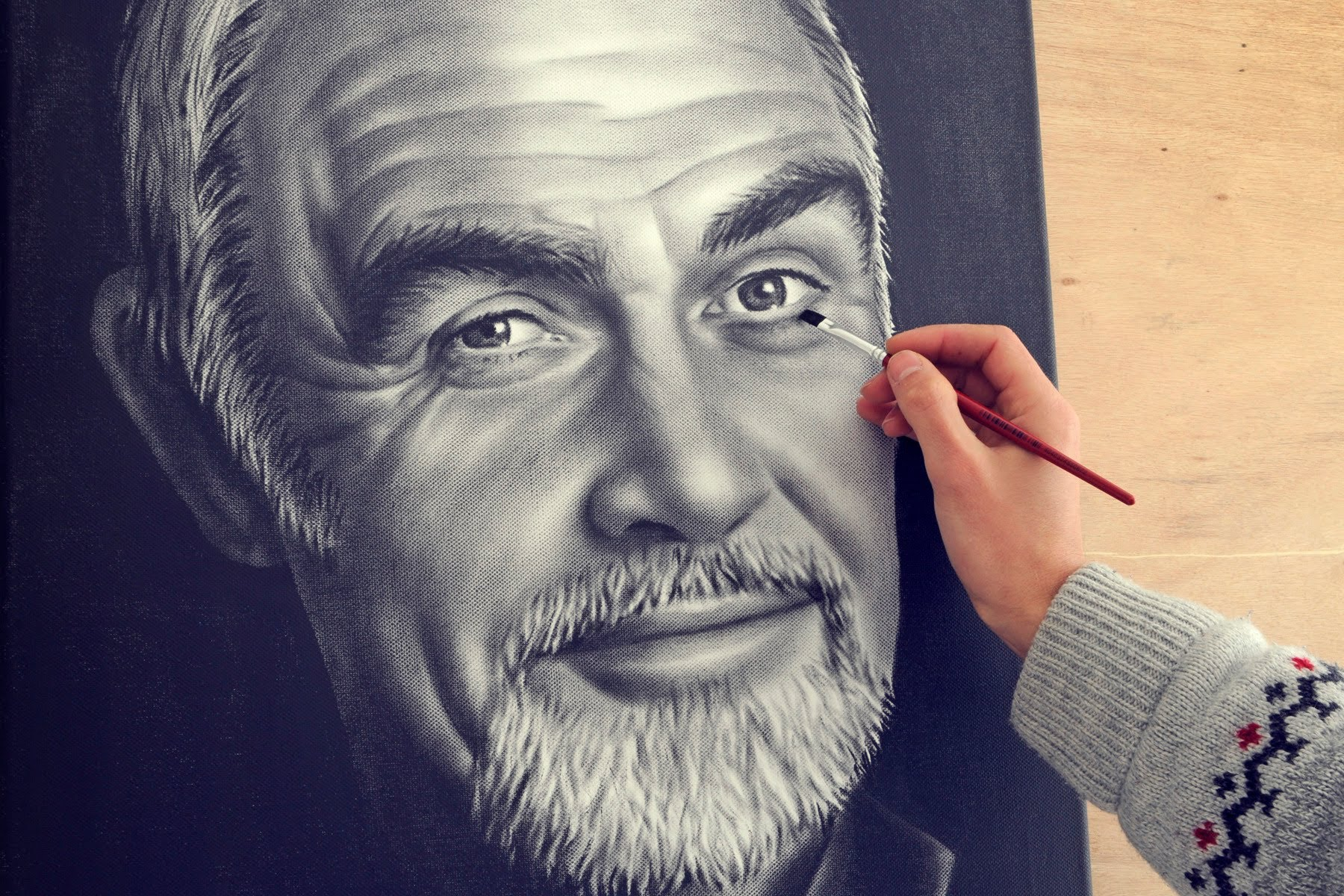 Drawn portrait dry brush To Paint) drawing (How speed