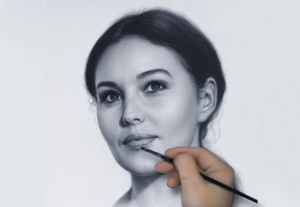 Drawn portrait dry brush Monica YouTube Bellucci by drawing
