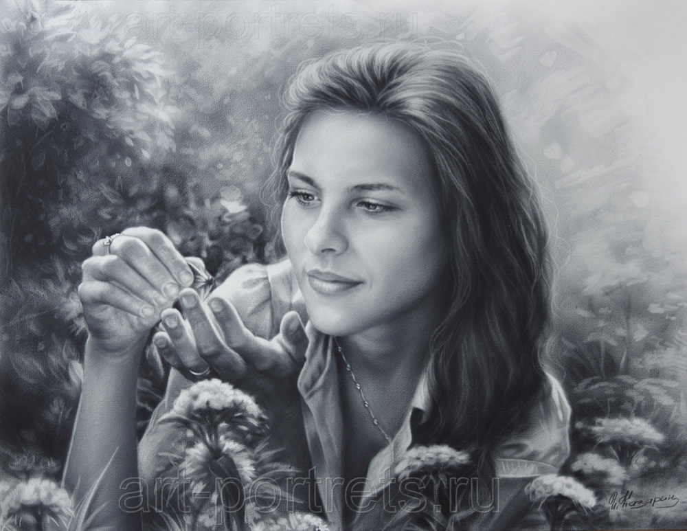 Drawn portrait dry brush On by Steele Drawing Portraits
