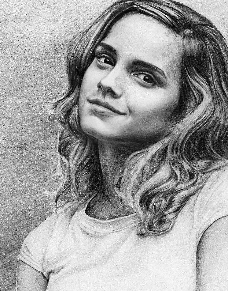 Drawn portrait emma watson Hermione by Granger artwork pencilplane