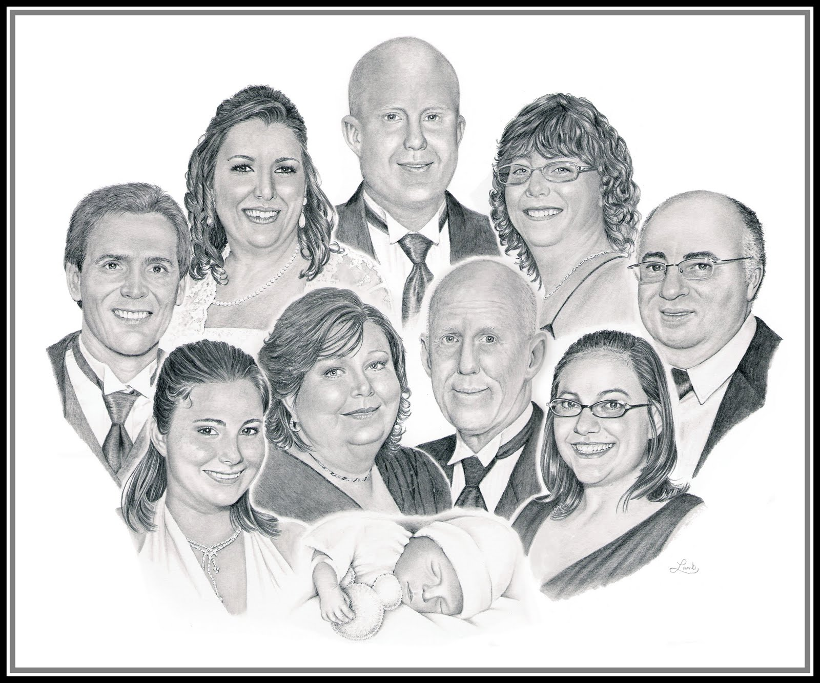 Drawn portrait family Family Portraits By Large Family