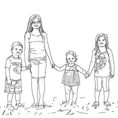 Drawn portrait family Portrait Family Hand Two from