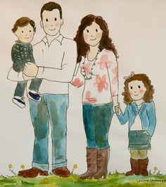 Drawn portrait family Does illustration Couple colored portrait