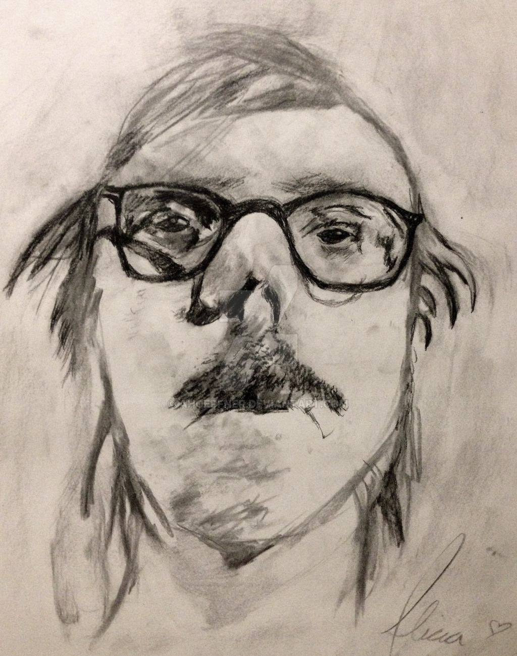 Drawn portrait famous artist On by (charcoal) based