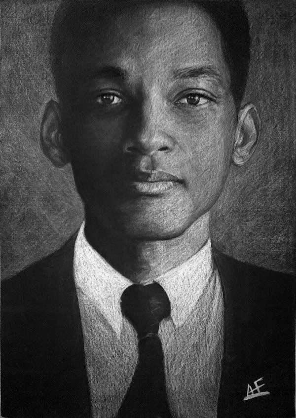 Drawn portrait famous person White & black Celebrities Drawn