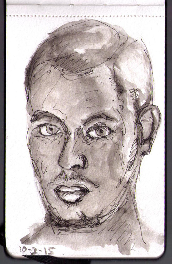 Drawn portrait fineliner An india started last with