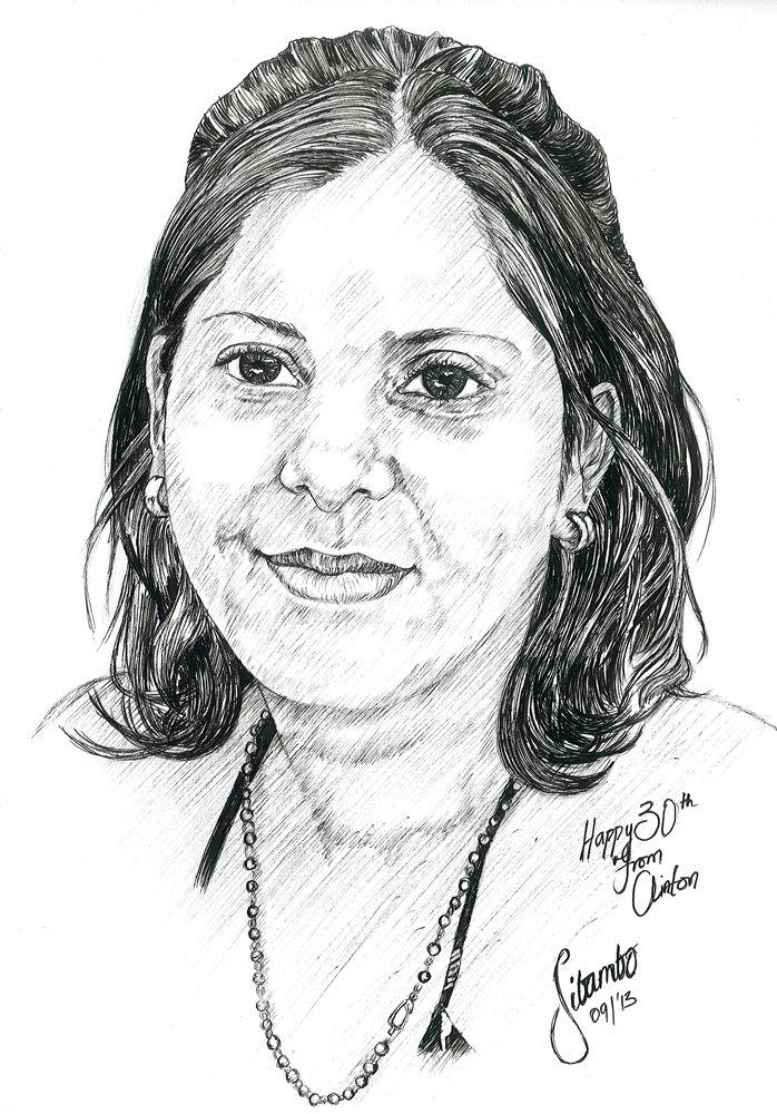 Drawn portrait fineliner Pen Portraits Personalized hand drawn