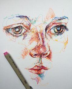 Drawn portrait fineliner #linedrawing sketch  me liner