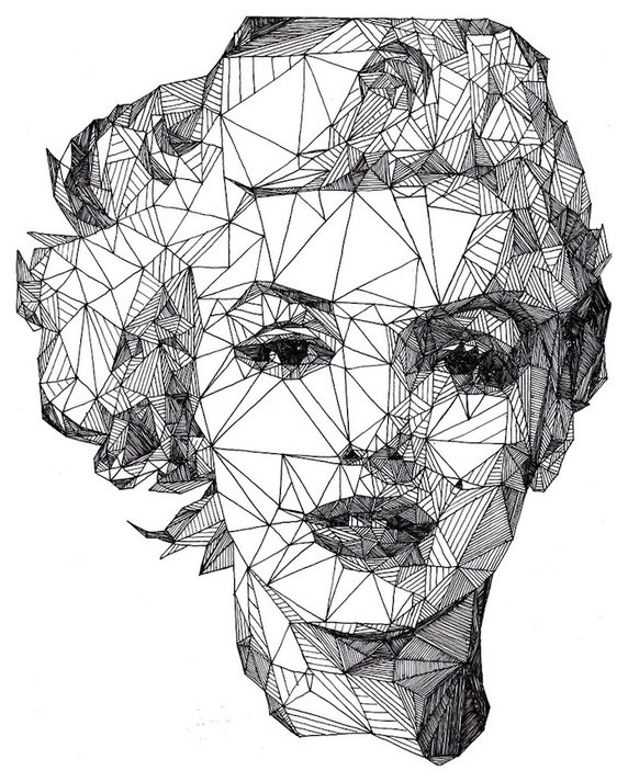 Drawn portrait fineliner With line of drawn each