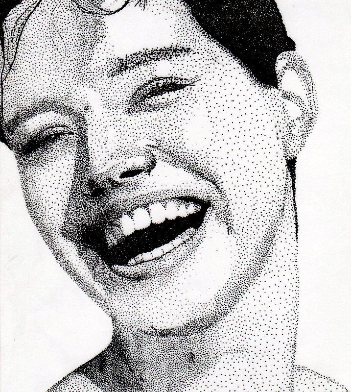 Drawn portrait fineliner Fineliner by glimmie pointillisme with