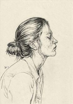Drawn portrait floral Female line profile portrait drawing