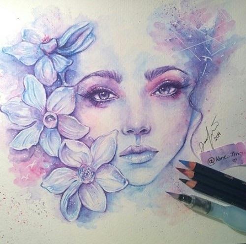 Drawn portrait floral … Pinteres… … Beautiful Drawings