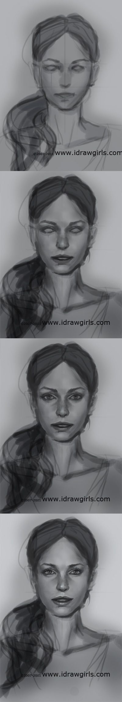 Drawn portrait front view View drawing face Anatomy (2):