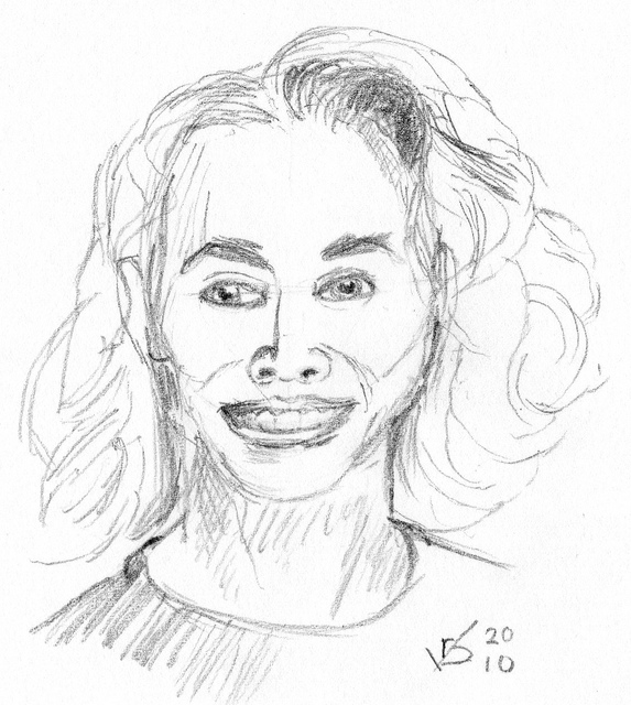 Drawn portrait front view A of  Flickr (sketch