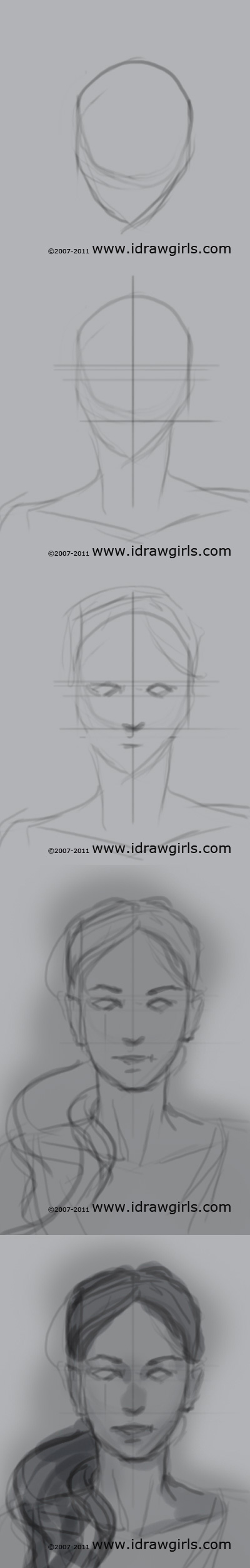 Drawn portrait front view View drawing  tutorial drawing