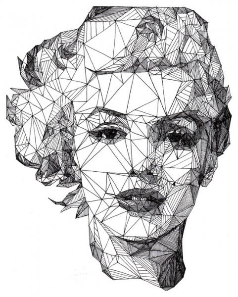 Drawn portrait geometric Out wish wish Marilyn of