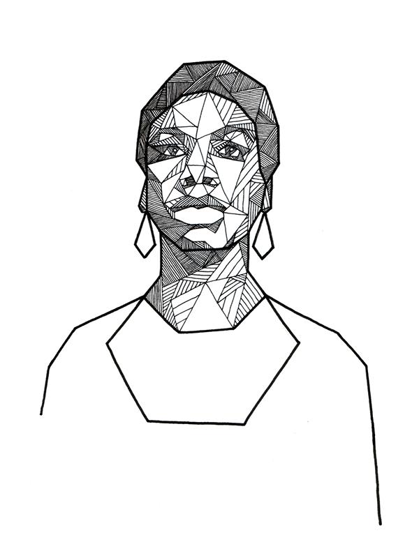 Drawn portrait geometric On  Geometric Ink Behance