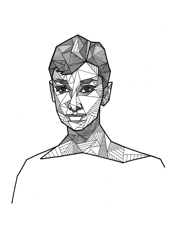 Drawn portrait geometric Ink AUDREY HEPBURN Behance Portraits