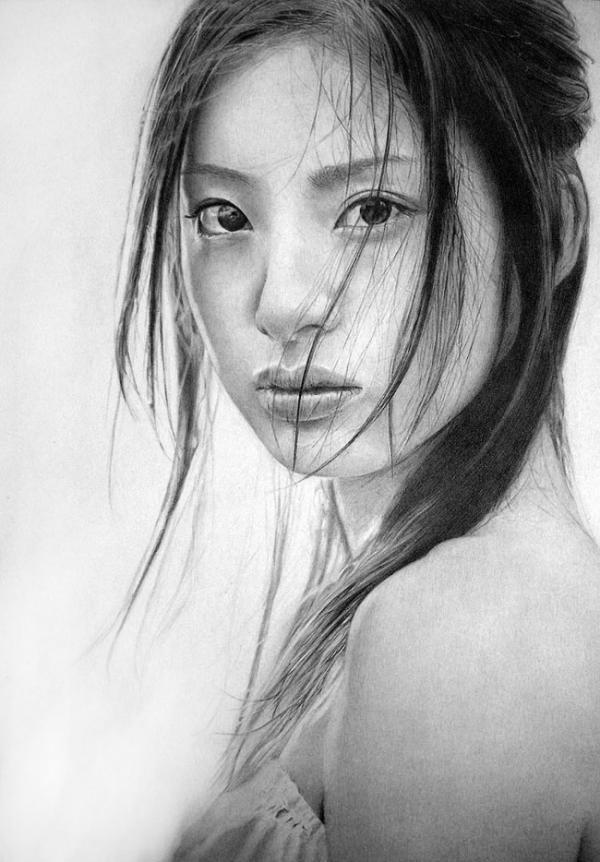 Drawn portrait graphite Artist by also pencil Lee