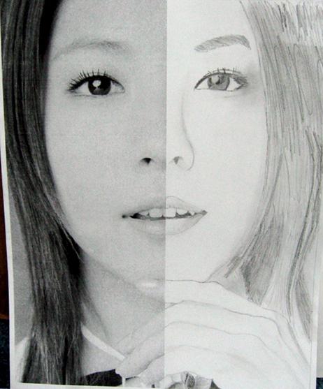 Drawn portrait half Half by drawing BoA Half
