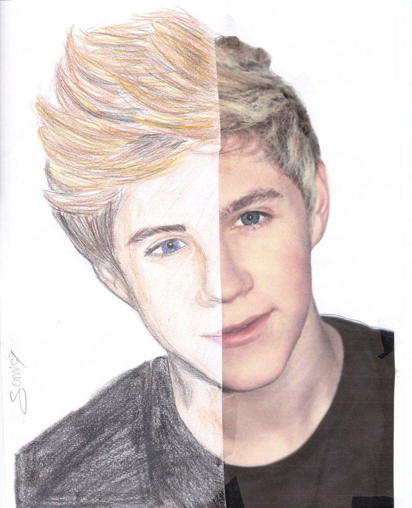 Drawn photos half By half drawing half A