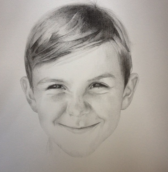 Drawn portrait hand drawn From a drawn child hand