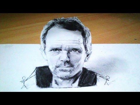 Drawn portrait hugh laurie 3D Anamorphic Hugh Portrait Anamorphic