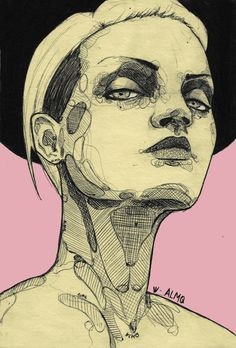 Drawn portrait illustrative Crosshatching Philip Aka Penandink