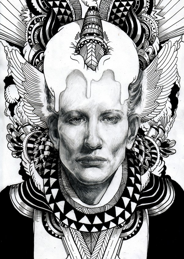 Drawn portrait illustrative Drawing via drawing by Behance