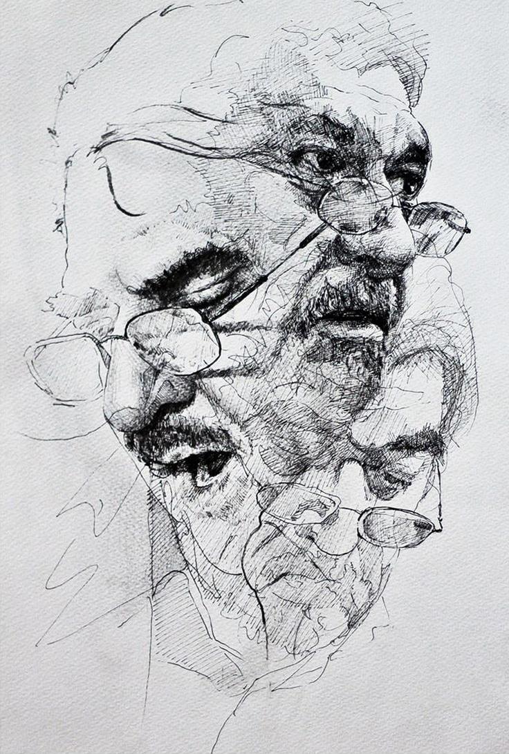 Drawn portrait ink Figurative portrait art ink