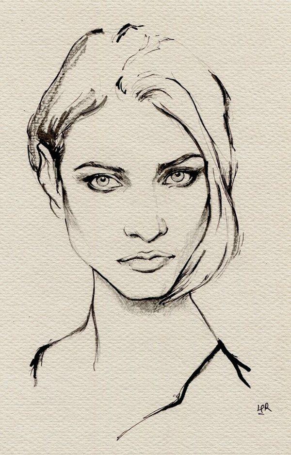 Drawn portrait ink Huang Selezneva Behance via painting